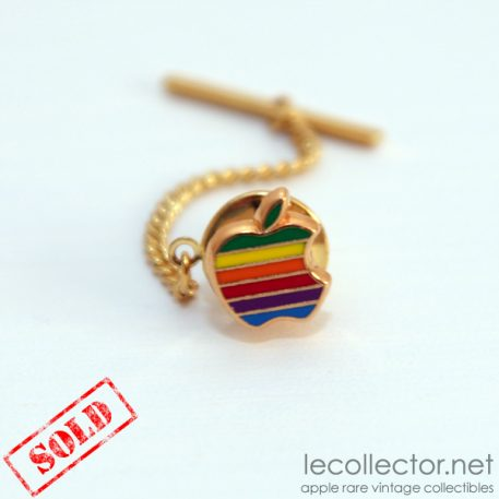 Apple computer tie tack lapel pin rainbow cloisonné Decat Paris