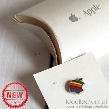 Apple computer rainbow silver lapel pin by Decat Paris unused in box VERY rare