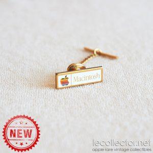 Gold plated chain tie tack Macintosh vintage tack lapel pin, original promo item 1984