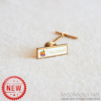 Gold plated chain tie tack Macintosh vintage tack lapel pin, original promo item 1984