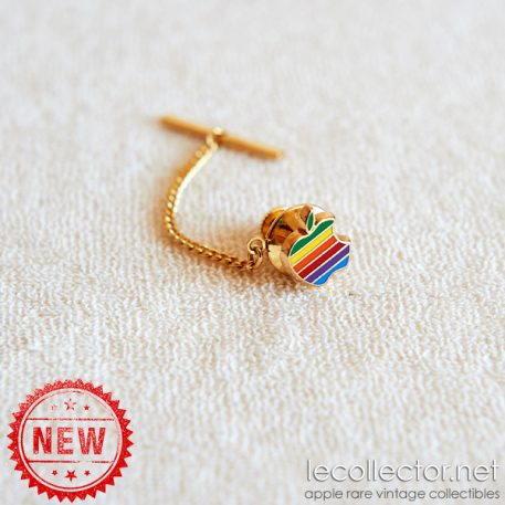 Hard enamel cloisonné Apple computer very rare vintage gold plated chain and tie tack lapel pin