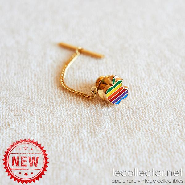 Perfect Hard enamel cloisonné Apple vintage rainbow lapel pin chain tie tack DE22