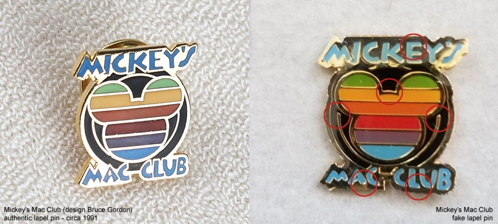 Authentic Mickey's Mac Club lapel pin versus fake