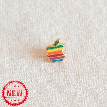 Apple computer rainbow golden base hard enamel lapel pin by Decat Paris