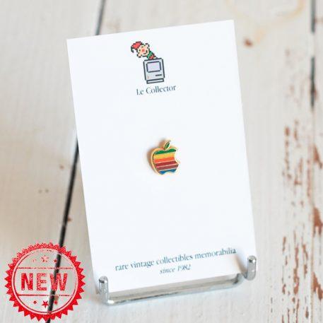 Apple computer rainbow golden base hard enamel lapel pin by Decat Paris
