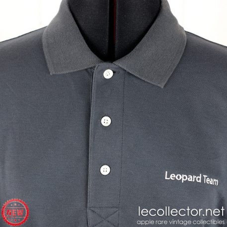 Apple Leopard Team polo shirt charcoal gray MacOS X engineering Macintosh medium size