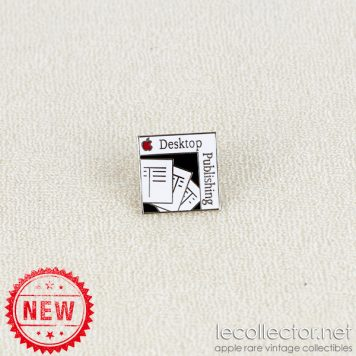 Desktop publishing red apple white square lapel pin